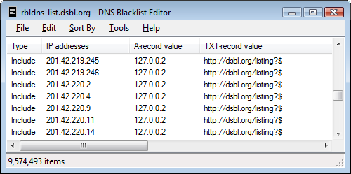 DNS Blacklist Editor - screen shot